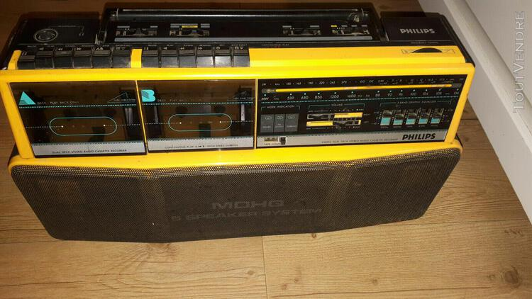 philips jaune radio cassette ghetto blaster vintage moving s