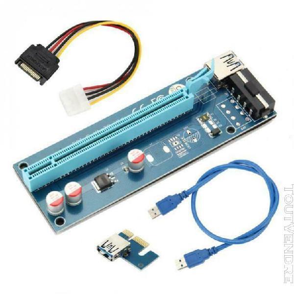 carte riser pcie 1x à 16x extender avec câble usb 3.0 pour