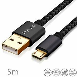Câble micro usb en nylon de 5m noir, câble de chargement