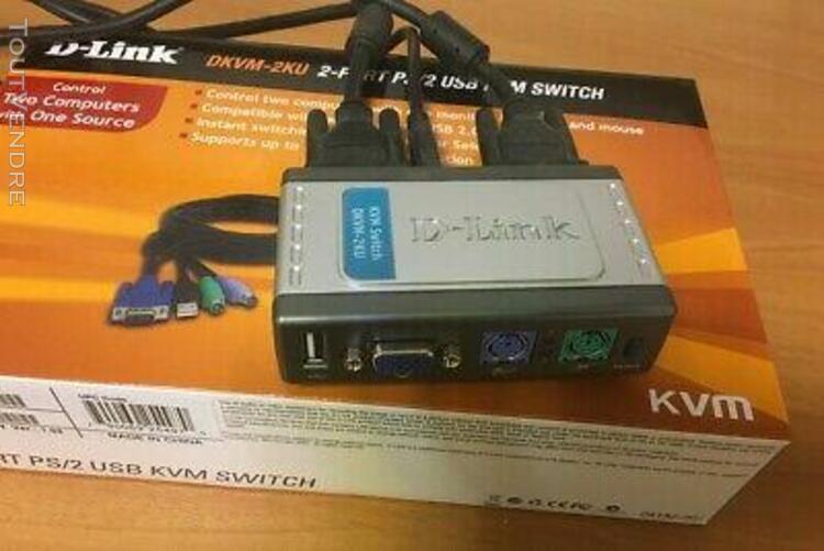 partageur kvm d-link partage 2 pc ecranvga/souris/ps2clavier