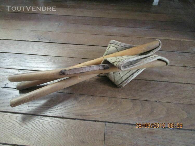 Ancien siege pliable tripode pecheurtoile et cuir