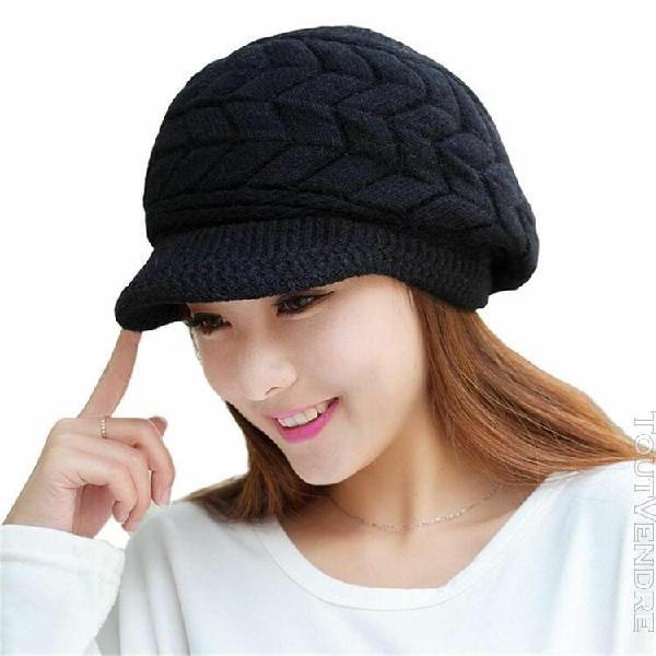 Bonnet laine femmes hiver chaud chapeaux de neige avec