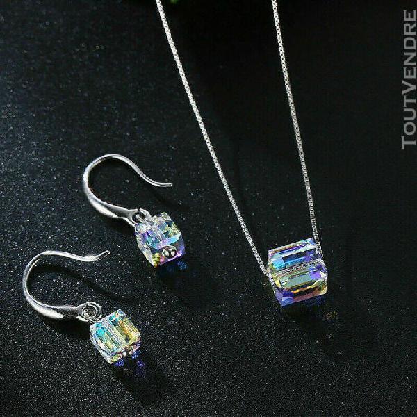 Ensemble pendentif & boucles oreille métal argenté pierre