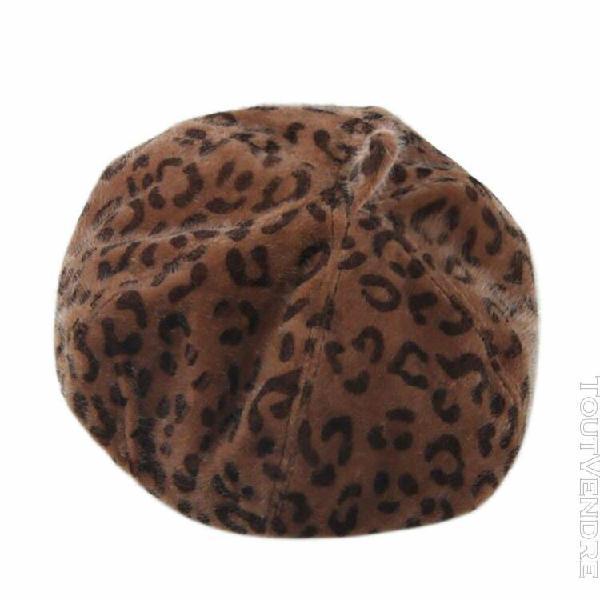 Femmes pure color hiver chaud leopard beret english artiste