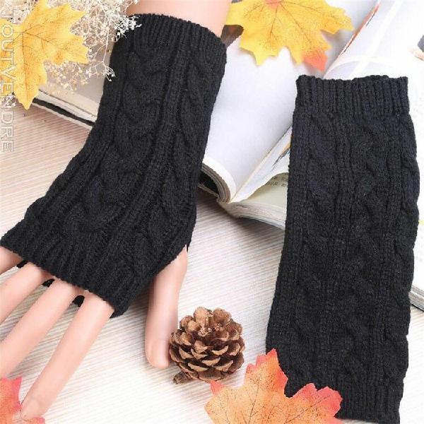 Gant femmes hiver chaud fingerless gants crochet pouce poign