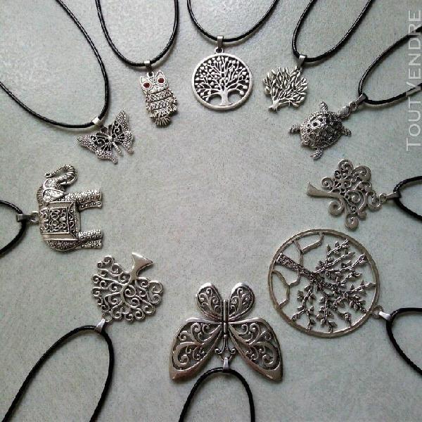 Lot bijoux 20 colliers 10 modéles arbre de vie papillon