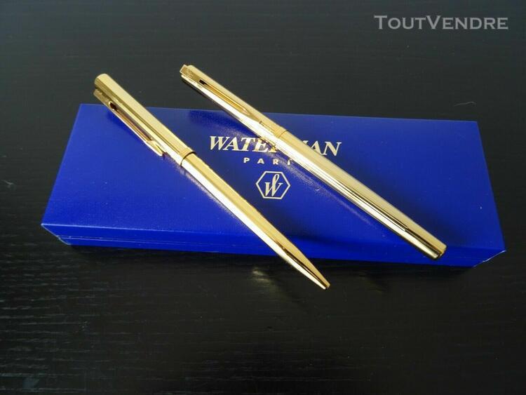 Parure en écrin stylo plume et style bille métal doré