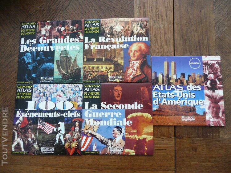 5 cd rom grand atlas de l'histoire du monde decouvertes revo