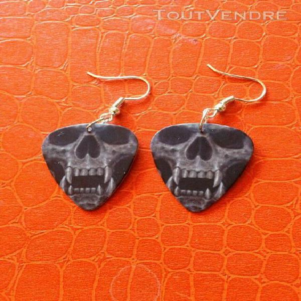 Boucles d'oreille médiator - collection tête de mort -
