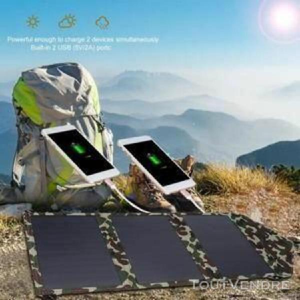 Double panneau banque d'énergie solaire pliable 25 camping