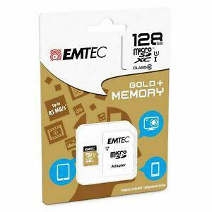 Carte mémoire micro sd sdhc 128go 128gb emtec gold+ mobile