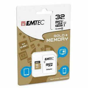 Carte mémoire micro sd sdhc 32go 32gb emtec gold+ mobile