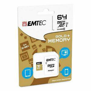 Carte mémoire micro sd sdhc 64go 64gb emtec gold+ mobile
