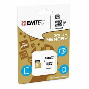 Carte mémoire micro sd sdhc 8go 8gb emtec gold+ pour mobile