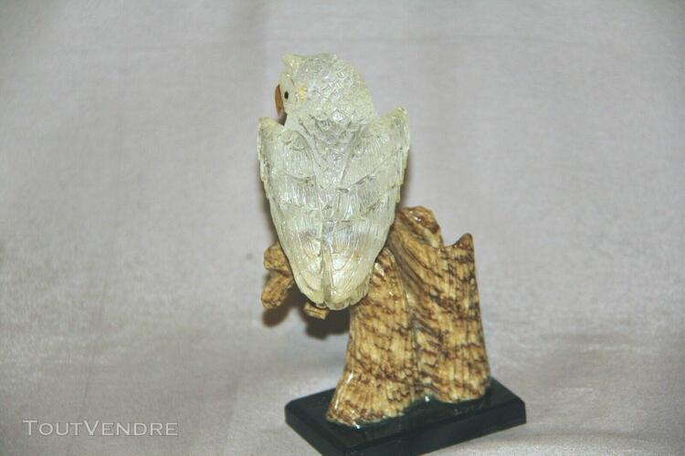 Chouette statuette sculpté pierre semi-précieuse artisanat