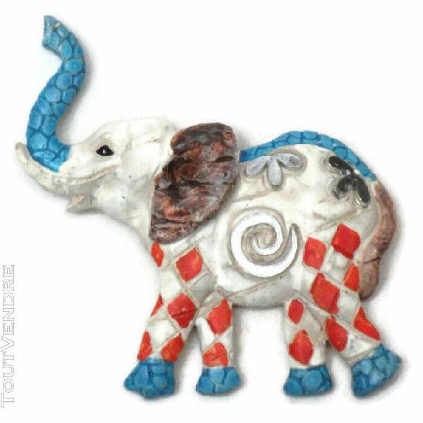 Magnet elephant bleu resine 9 x 7 cm