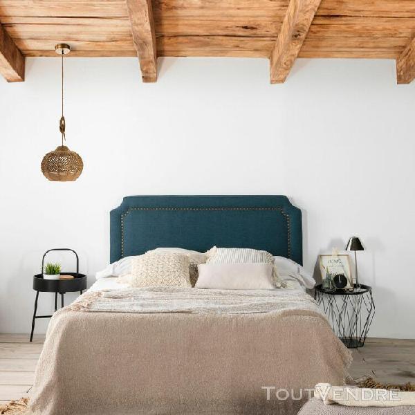 Tête de lit tapissée leonor 160x60cm bleu, clous en