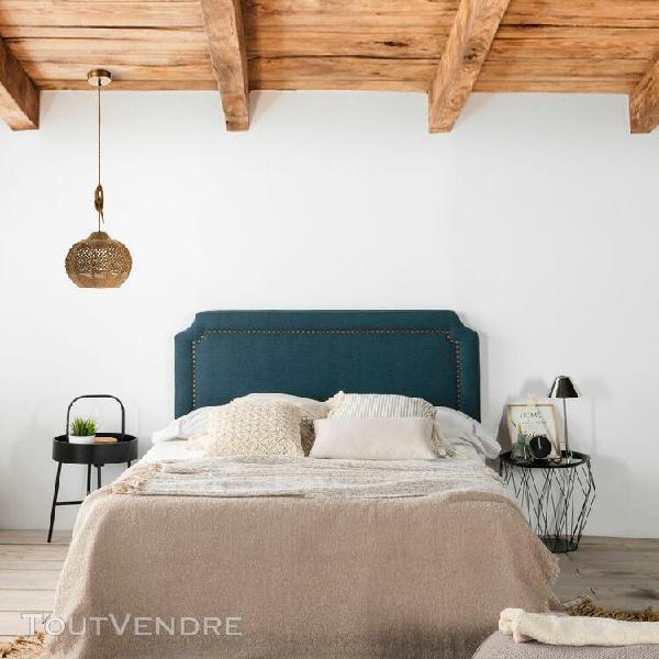 Tête de lit tapissée leonor bleu 140x60cm, clous en