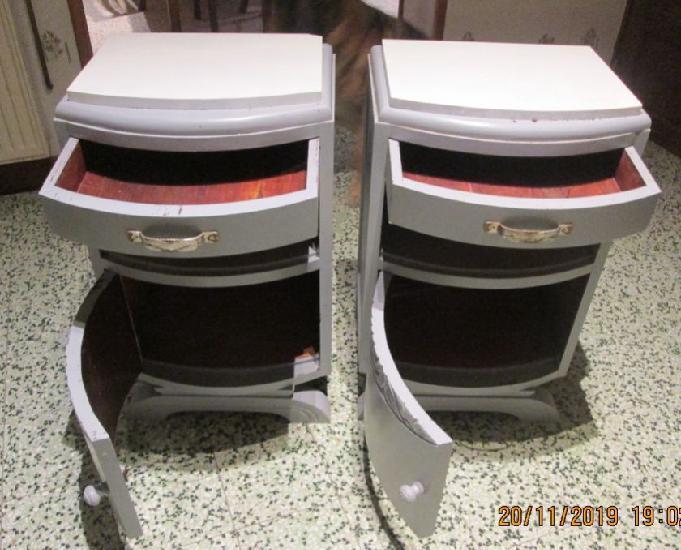 2 tables de chevet chêne dessus marbre