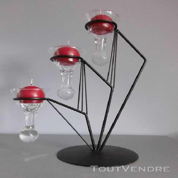 bougeoir design 3 branches forme goutte avec 3 bougies