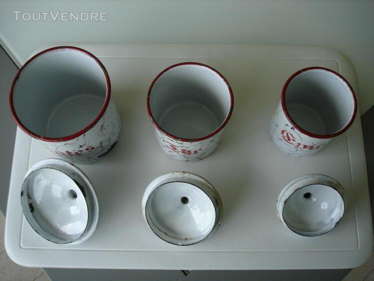 jolis pots à epices en belle tôle emaillée pour pates,