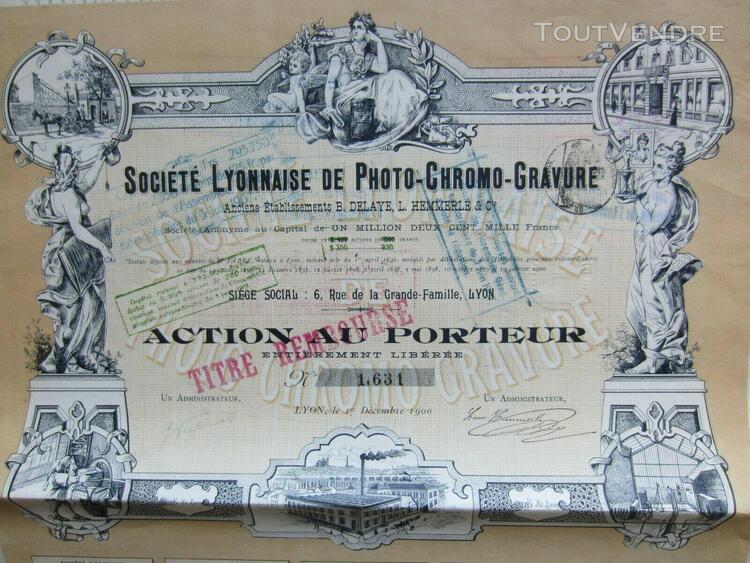 action societe lyonnaise de photo chromo gravure lyon 1900 d
