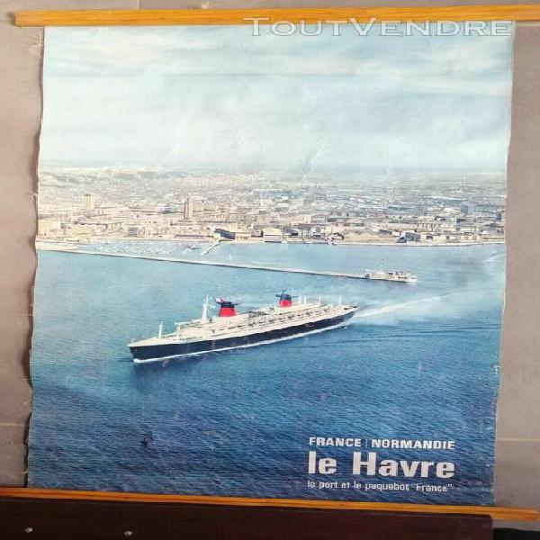 Affiche originale paquebot france port du havre 1964