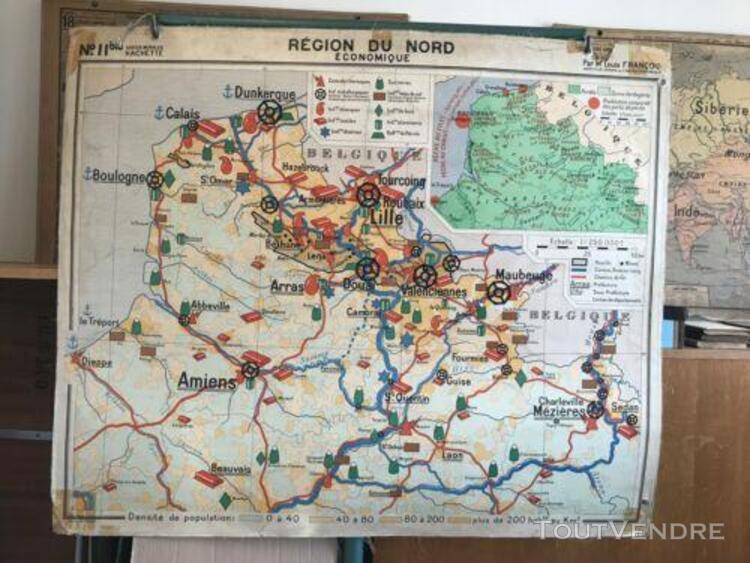 carte scolaire hachette type vidal région du nord / région
