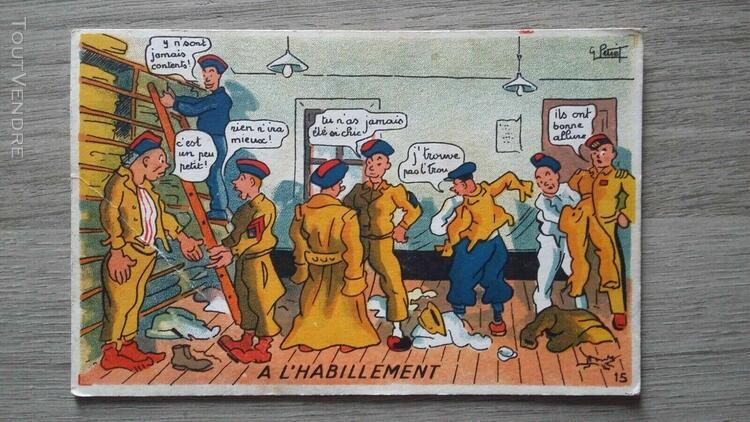 """cpa illustrée g.petiet militaria humour """"l'habillement"""""""