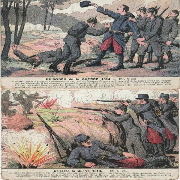lot de 2 cpa episodes de la guerre 1914 n°253 & 254