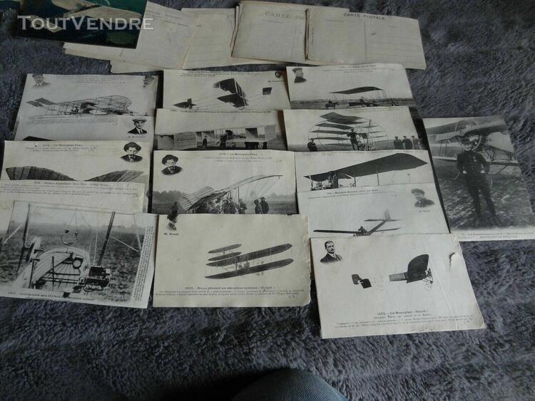 lot de cartes postales ancienne aviation a encoller