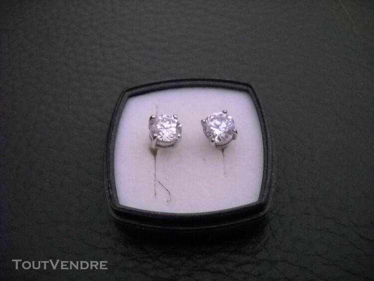 Boucles d'oreilles solitaire oxyde de zirconium sur argent v