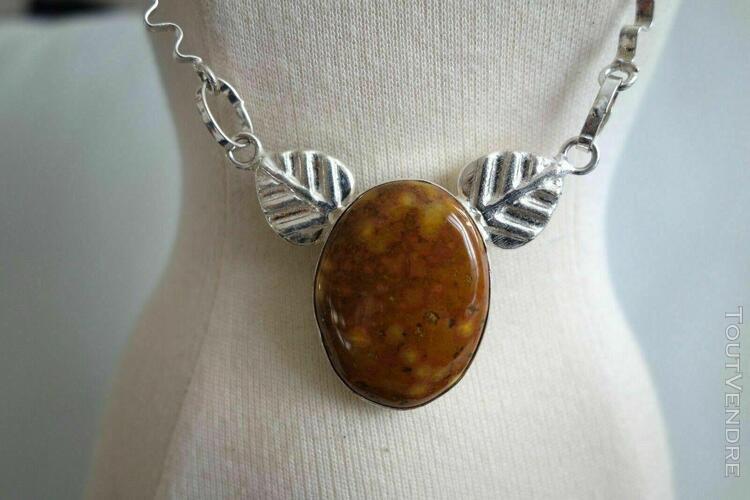 Collier pierre ocre marbré & argent 925 feuille necklace