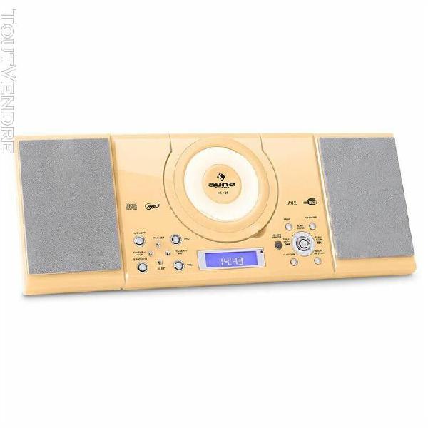 auna mc-120 chaine hifi stéréo lecteur mp3 cd usb -crème