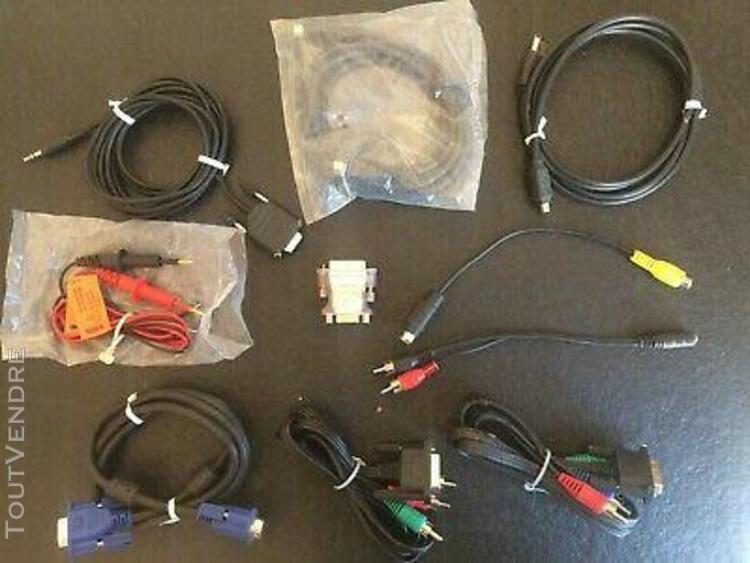 lot 10 cables et adaptateurs audio/video neufs et occasion.