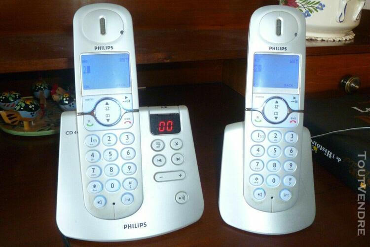 Téléphone répondeur philips sans fil duo cd445