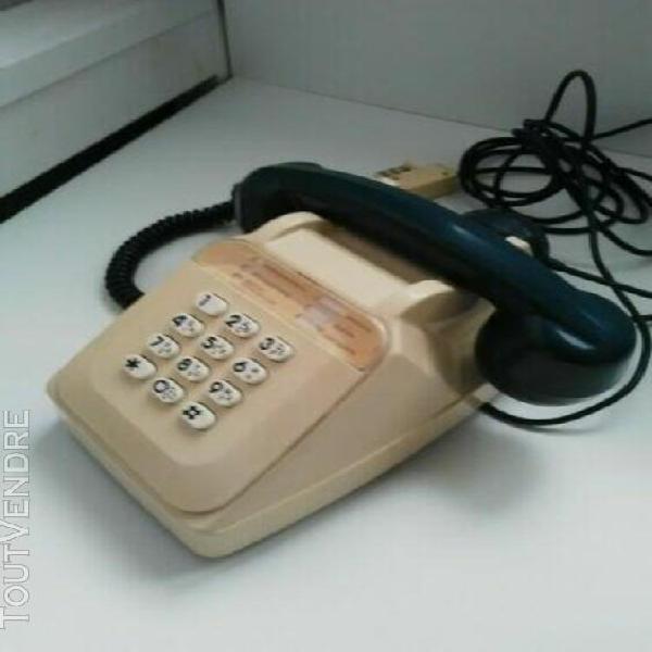 Vintage telephone fixe bicolore socotel s63 à touches beige