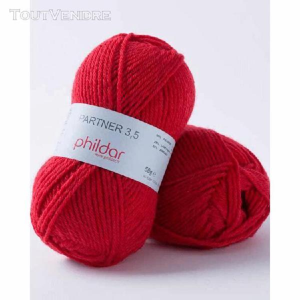 pelote de laine partner 3,5 rouge 50 g