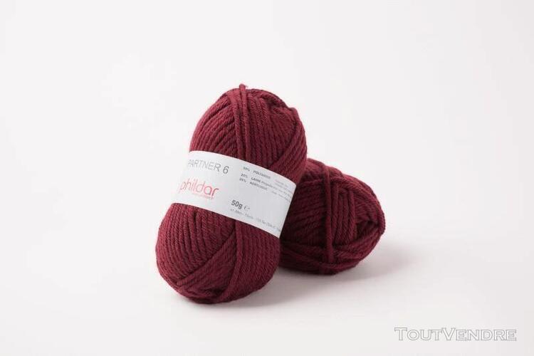pelote de laine partner 6 bordeaux 50 g
