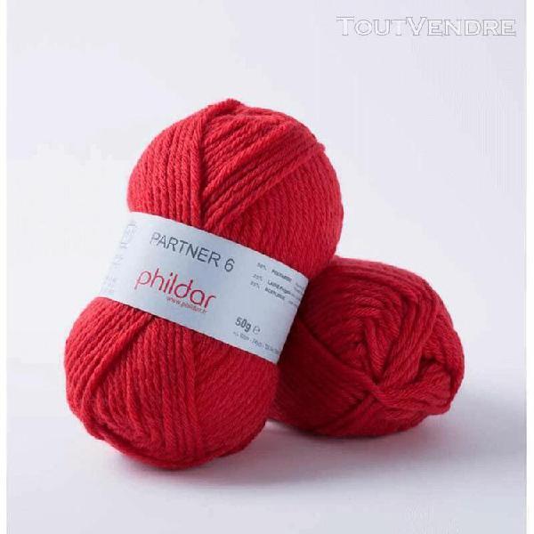 pelote de laine partner 6 rouge 50 g