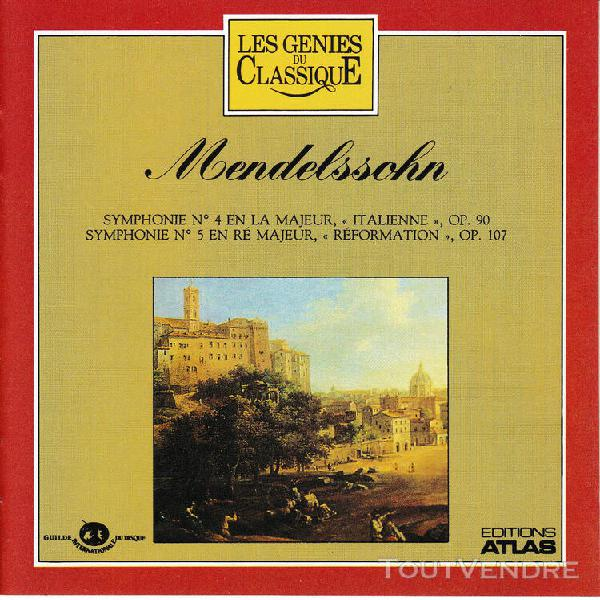 cd-mendelssohn symphonie n° 4 «italienne», symphonie n°