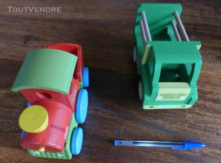 lot 2 ❤ jouets en bois ❤ train camion ❤ fizzy ❤