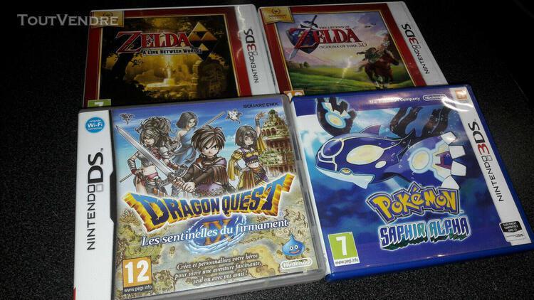 Lot de 4 jeux nintendo ds / 3ds (pokemon, zelda, dragon ques