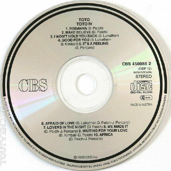 toto - iv (cd 1990 reedition autriche cbs)