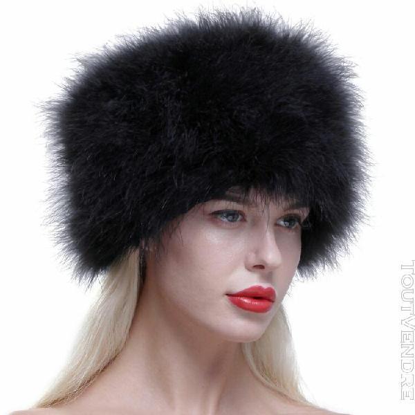 Chapeau chapka russe fourrure d'autruche cache oreilles