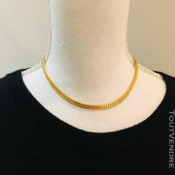 Très joli collier ras du cou doré femme