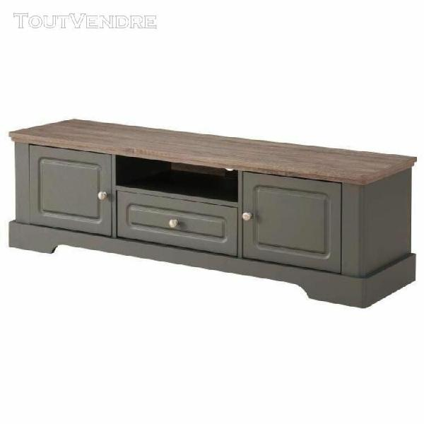 Dessy meuble tv classique gris mat et plateau decor bois - l