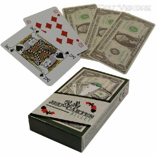 Jeu 54 cartes fun aspect billet 100 dollars idéal poker