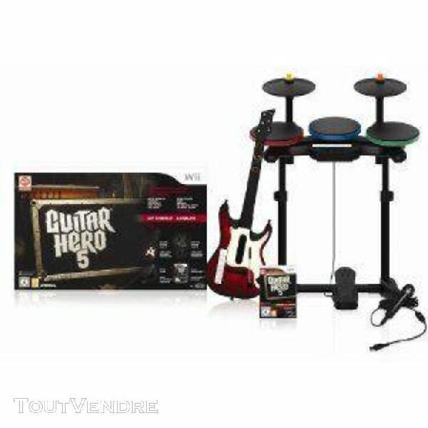 Guitar hero 5: jeu + guitare + batterie + micro