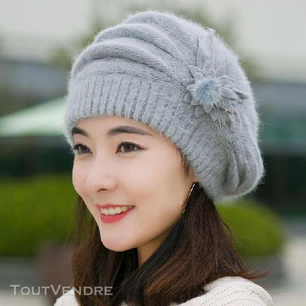 Femmes mode fleur crochet knit bonnet hiver chaud cap beret